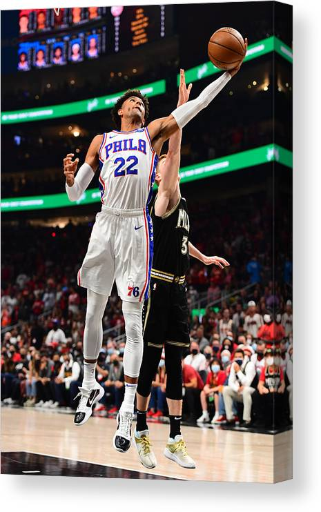 Atlanta Canvas Print featuring the photograph 2021 NBA Playoffs - Philadelphia 76ers v Atlanta Hawks by Scott Cunningham
