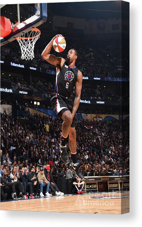 Event Canvas Print featuring the photograph Deandre Jordan by Andrew D. Bernstein