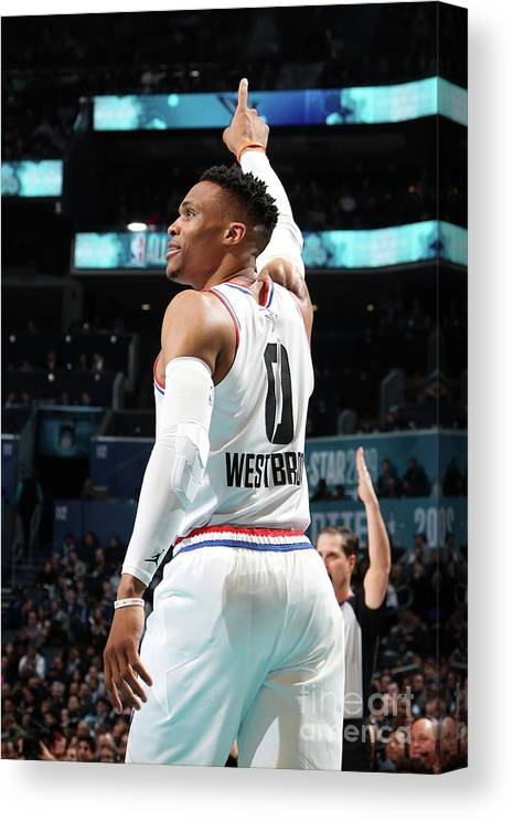 Nba Pro Basketball Canvas Print featuring the photograph Russell Westbrook by Nathaniel S. Butler