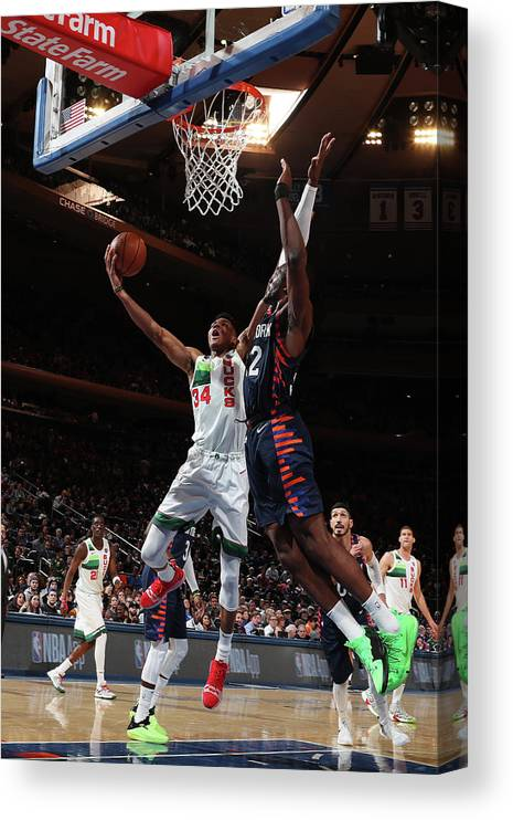 Nba Pro Basketball Canvas Print featuring the photograph Giannis Antetokounmpo by Nathaniel S. Butler
