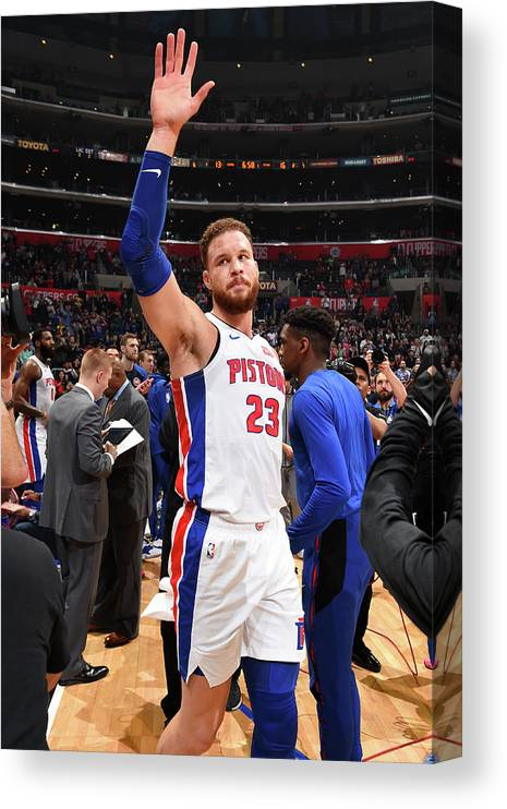 Crowd Canvas Print featuring the photograph Blake Griffin by Andrew D. Bernstein