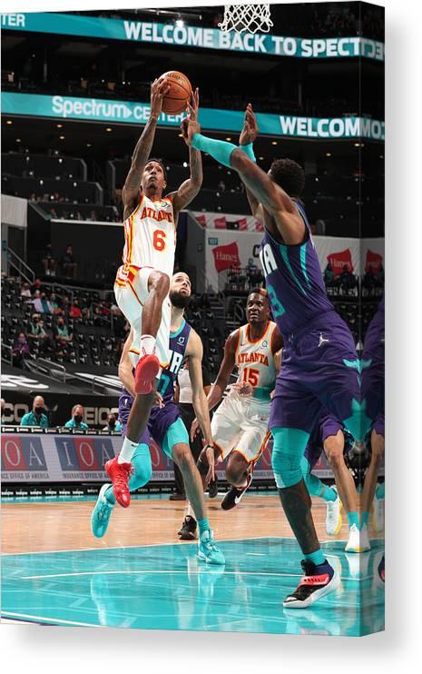 Nba Pro Basketball Canvas Print featuring the photograph Atlanta Hawks v Charlotte Hornets by Kent Smith
