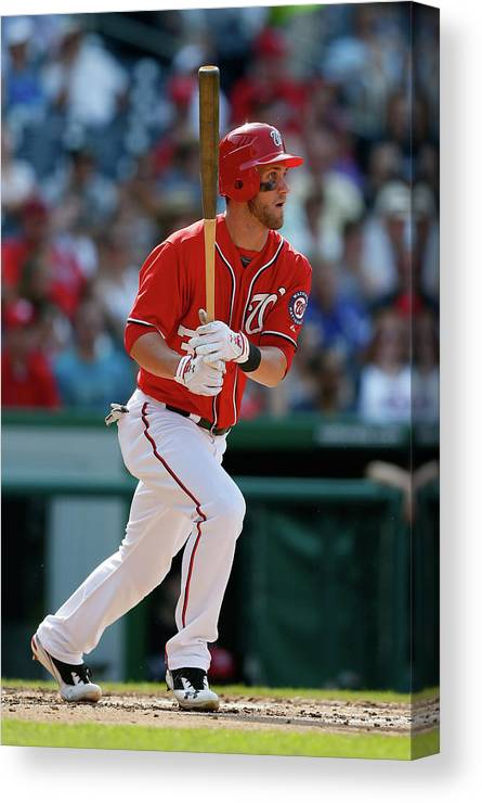 Following Canvas Print featuring the photograph Bryce Harper by Rob Carr