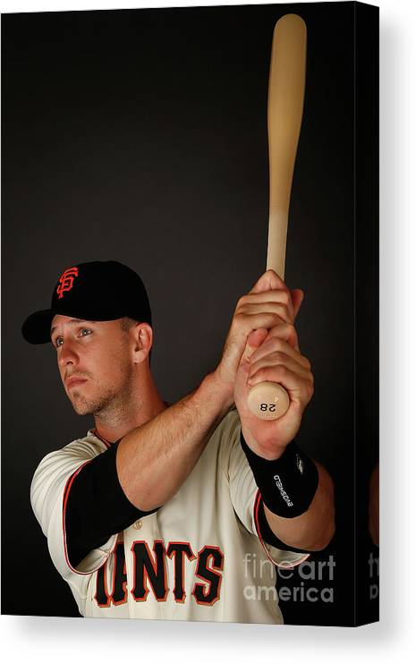 Media Day Canvas Print featuring the photograph Buster Posey by Christian Petersen