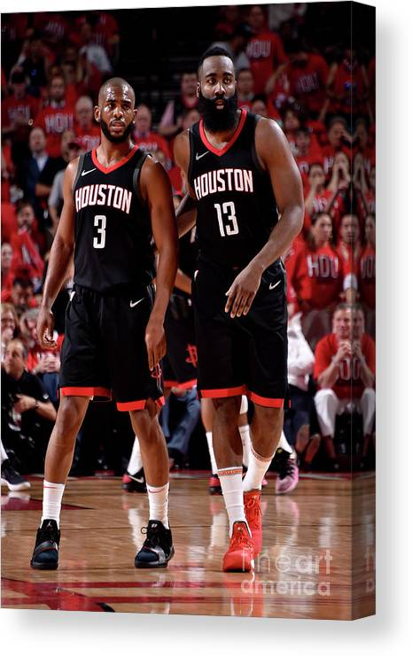 Playoffs Canvas Print featuring the photograph Chris Paul and James Harden by Bill Baptist