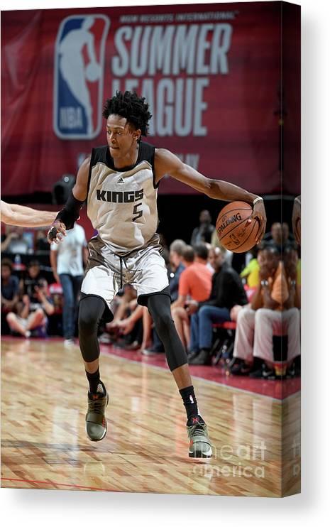 Nba Pro Basketball Canvas Print featuring the photograph De'aaron Fox by Garrett Ellwood