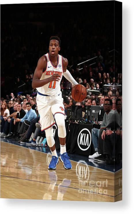 Nba Pro Basketball Canvas Print featuring the photograph Frank Ntilikina by Nathaniel S. Butler