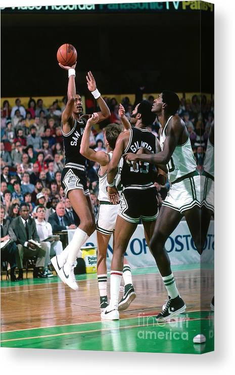 1980-1989 Canvas Print featuring the photograph George Gervin by Dick Raphael