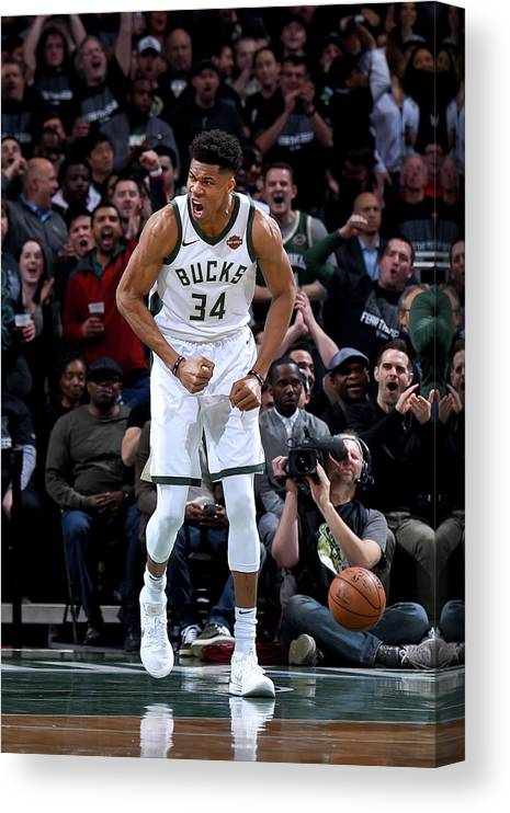 Playoffs Canvas Print featuring the photograph Giannis Antetokounmpo by Brian Babineau