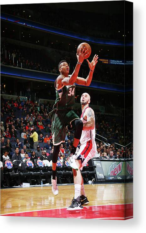 Nba Pro Basketball Canvas Print featuring the photograph Giannis Antetokounmpo by Ned Dishman