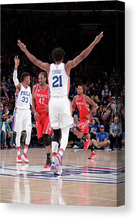Nba Pro Basketball Canvas Print featuring the photograph Joel Embiid by David Dow