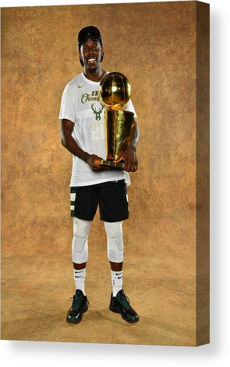 Playoffs Canvas Print featuring the photograph Jrue Holiday by Jesse D. Garrabrant
