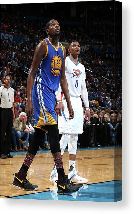 Nba Pro Basketball Canvas Print featuring the photograph Kevin Durant and Russell Westbrook by Layne Murdoch