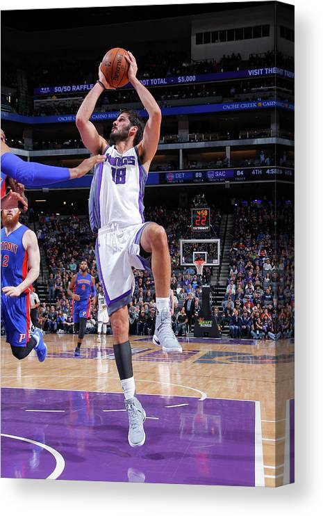 Nba Pro Basketball Canvas Print featuring the photograph Omri Casspi by Rocky Widner
