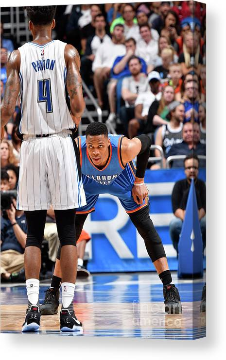 Nba Pro Basketball Canvas Print featuring the photograph Russell Westbrook by Fernando Medina