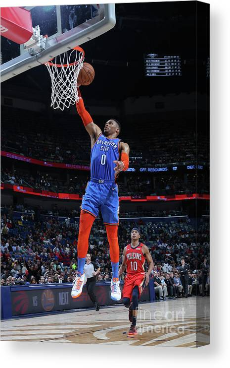 Smoothie King Center Canvas Print featuring the photograph Russell Westbrook by Layne Murdoch Jr.