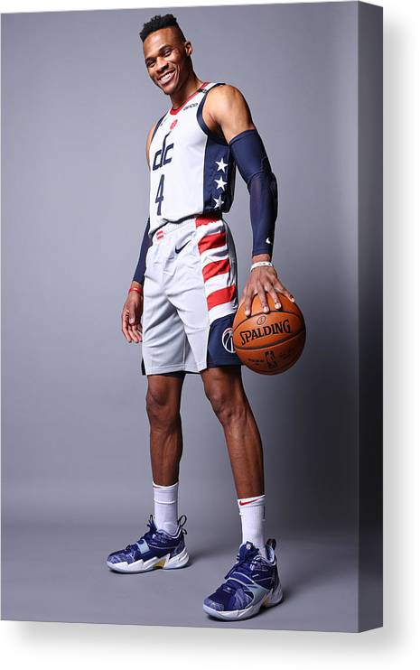 Media Day Canvas Print featuring the photograph Russell Westbrook by Ned Dishman