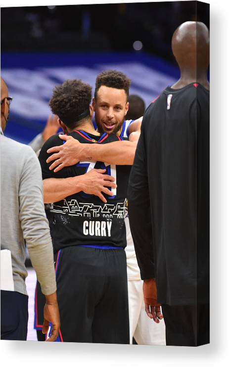 Nba Pro Basketball Canvas Print featuring the photograph Stephen Curry and Seth Curry by Jesse D. Garrabrant