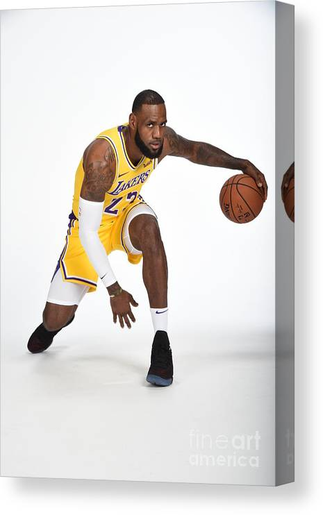Media Day Canvas Print featuring the photograph Lebron James by Andrew D. Bernstein