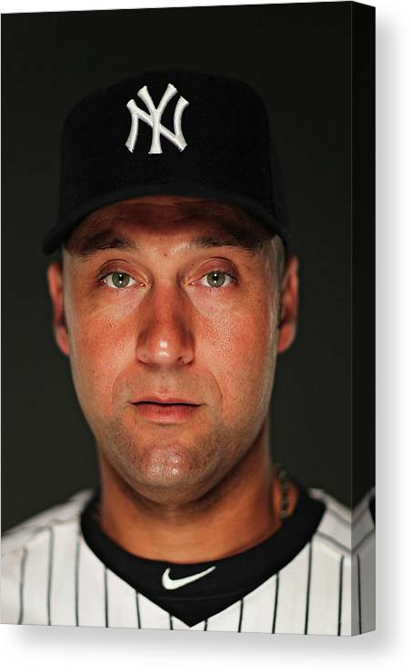 Media Day Canvas Print featuring the photograph Derek Jeter by Al Bello