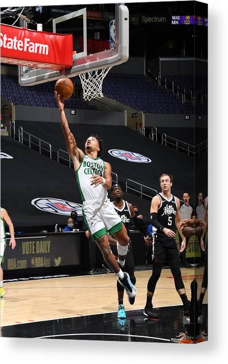 Nba Pro Basketball Canvas Print featuring the photograph Boston Celtics v LA Clippers by Adam Pantozzi