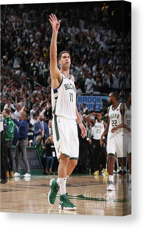 Playoffs Canvas Print featuring the photograph Brook Lopez by Gary Dineen