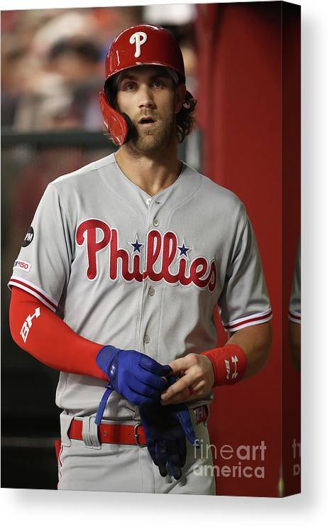 Three Quarter Length Canvas Print featuring the photograph Bryce Harper by Christian Petersen
