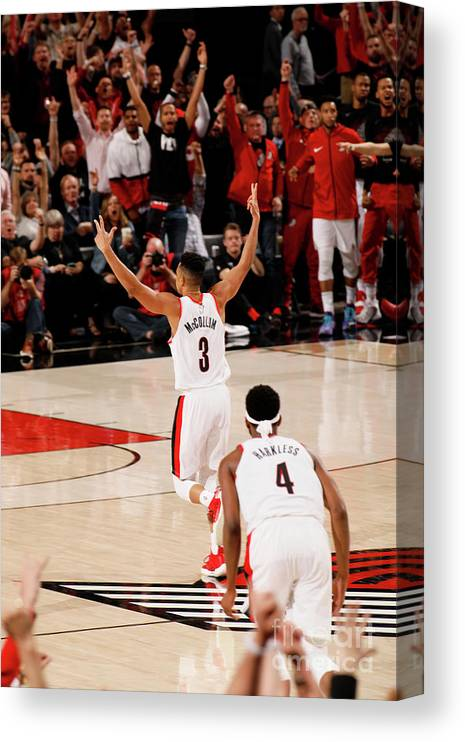 Playoffs Canvas Print featuring the photograph C.j. Mccollum by Cameron Browne