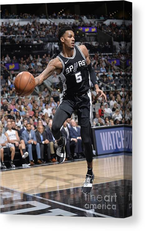 Sports Ball Canvas Print featuring the photograph Dejounte Murray by Mark Sobhani
