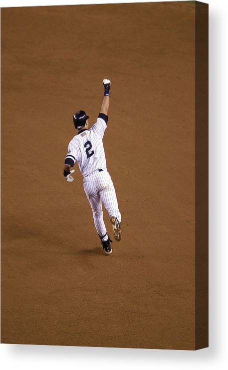 People Canvas Print featuring the photograph Derek Jeter by Ezra Shaw