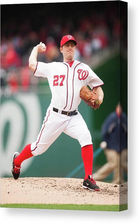 Baseball Pitcher Canvas Print featuring the photograph Jordan Zimmermann by Mitchell Layton