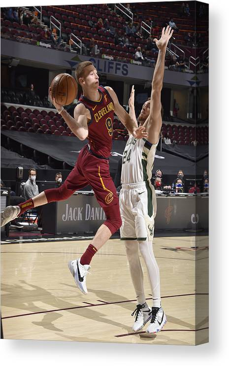 Nba Pro Basketball Canvas Print featuring the photograph Milwaukee Bucks v Cleveland Cavaliers by David Liam Kyle