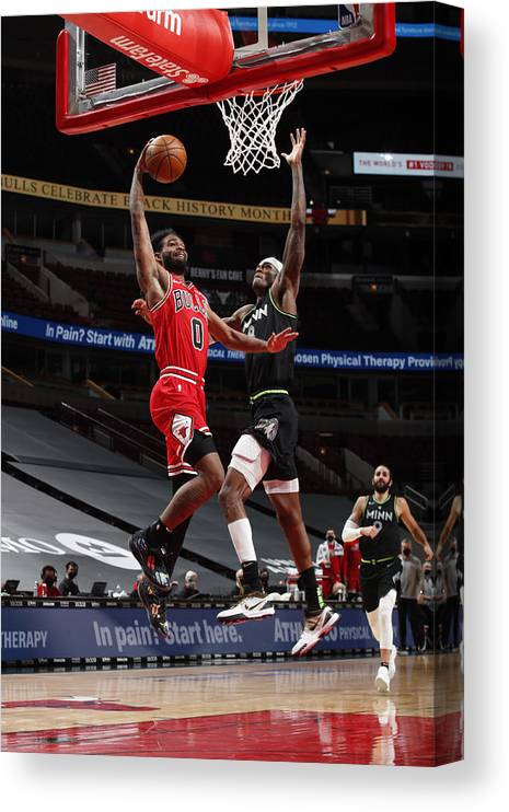 Coby White Canvas Print featuring the photograph Minnesota Timberwolves v Chicago Bulls by Jeff Haynes