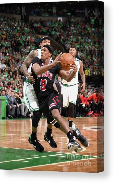 Playoffs Canvas Print featuring the photograph Rajon Rondo by Brian Babineau
