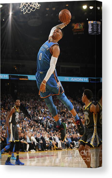 Nba Pro Basketball Canvas Print featuring the photograph Russell Westbrook by Garrett Ellwood