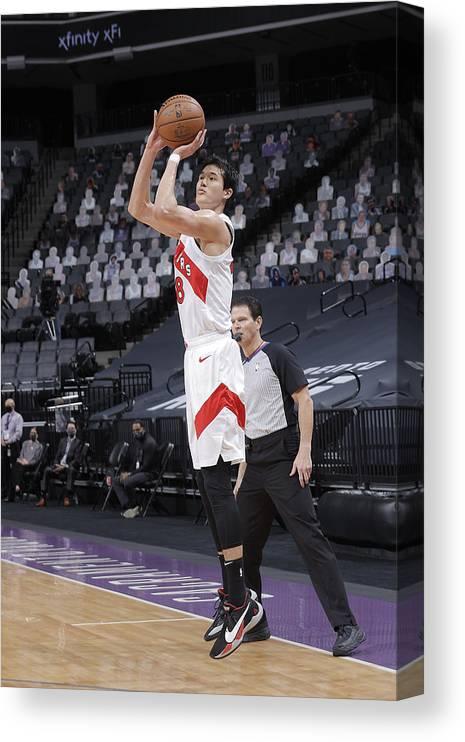 Nba Pro Basketball Canvas Print featuring the photograph Toronto Raptors v Sacramento Kings by Rocky Widner