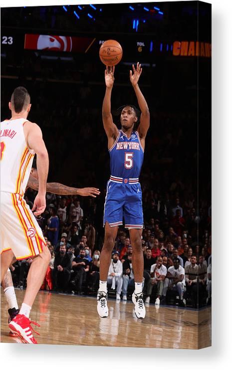 Playoffs Canvas Print featuring the photograph 2021 NBA Playoffs - Atlanta Hawks v New York Knicks by Nathaniel S. Butler