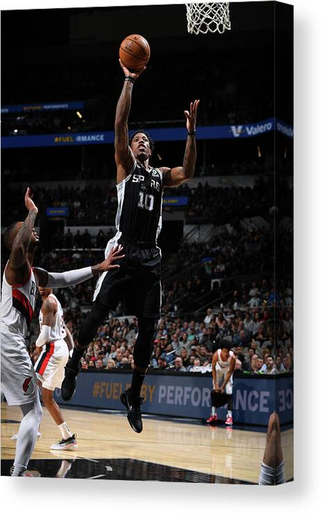 Nba Pro Basketball Canvas Print featuring the photograph Demar Derozan by Garrett Ellwood