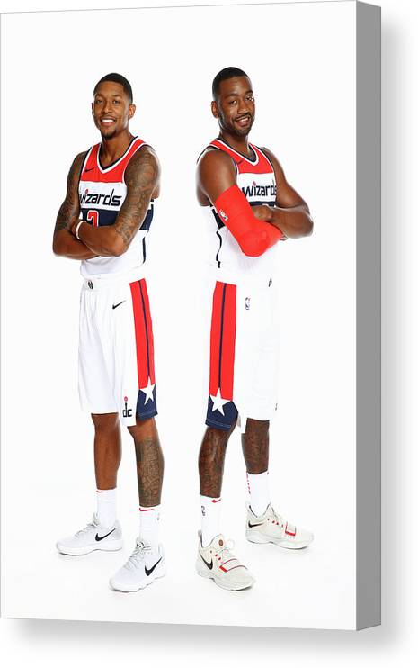 Media Day Canvas Print featuring the photograph John Wall and Bradley Beal by Ned Dishman