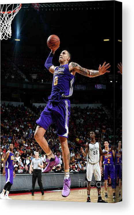 Nba Pro Basketball Canvas Print featuring the photograph Kyle Kuzma by Garrett Ellwood