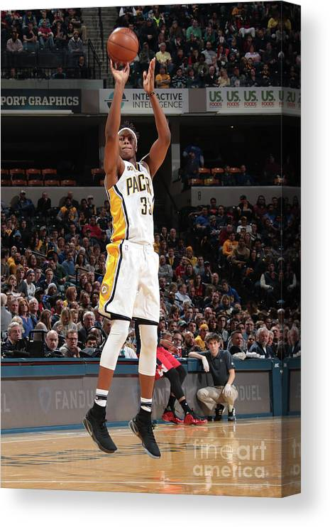 Nba Pro Basketball Canvas Print featuring the photograph Myles Turner by Ron Hoskins