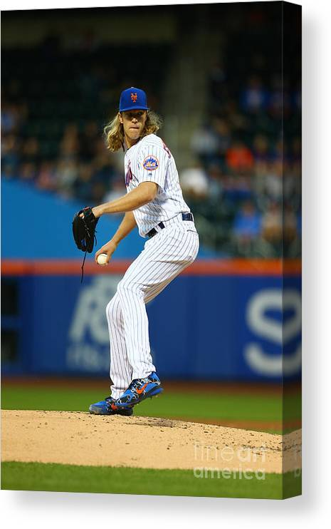 Second Inning Canvas Print featuring the photograph Noah Syndergaard by Mike Stobe