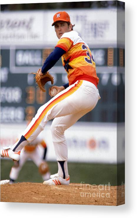 1980-1989 Canvas Print featuring the photograph Nolan Ryan by Rich Pilling