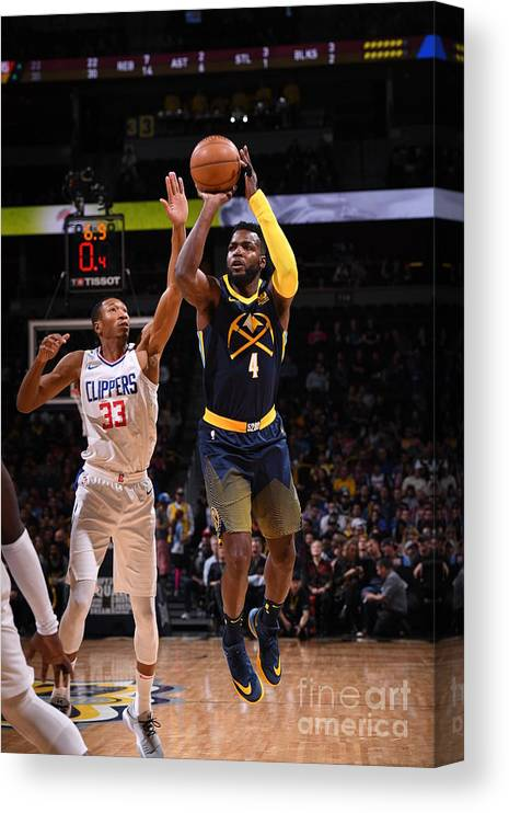 Nba Pro Basketball Canvas Print featuring the photograph Paul Millsap by Garrett Ellwood