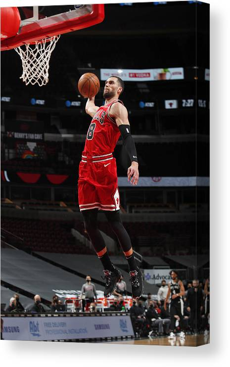 Nba Pro Basketball Canvas Print featuring the photograph Zach Lavine by Jeff Haynes