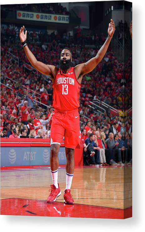 Playoffs Canvas Print featuring the photograph James Harden by Bill Baptist