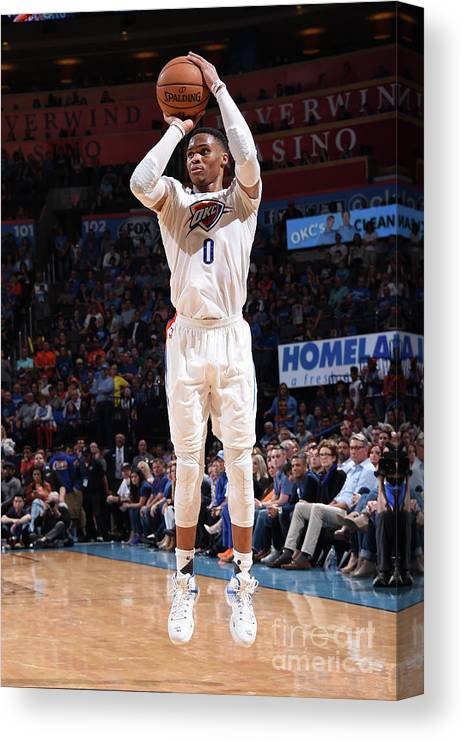 Nba Pro Basketball Canvas Print featuring the photograph Russell Westbrook by Andrew D. Bernstein