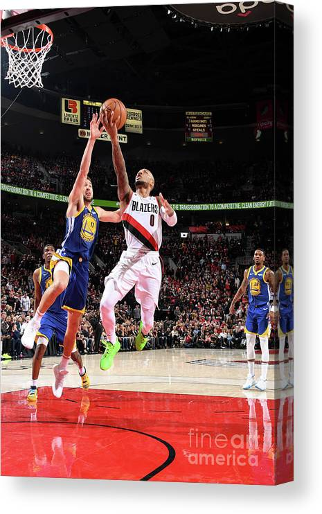Nba Pro Basketball Canvas Print featuring the photograph Damian Lillard by Andrew D. Bernstein