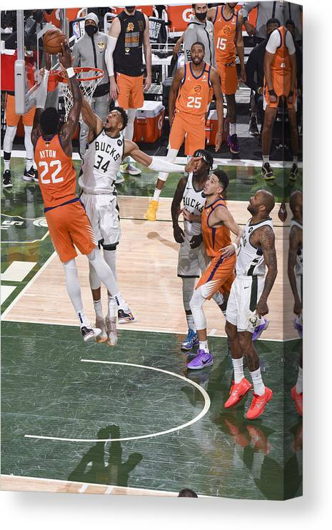 Playoffs Canvas Print featuring the photograph Giannis Antetokounmpo by Andrew D. Bernstein
