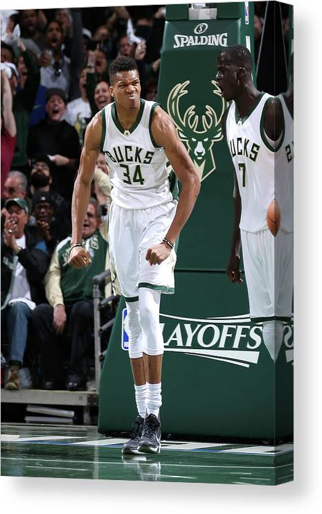 Playoffs Canvas Print featuring the photograph Giannis Antetokounmpo by Gary Dineen